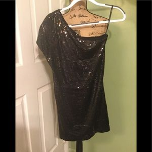 Tart One Shoulder Sequined Mini Dress